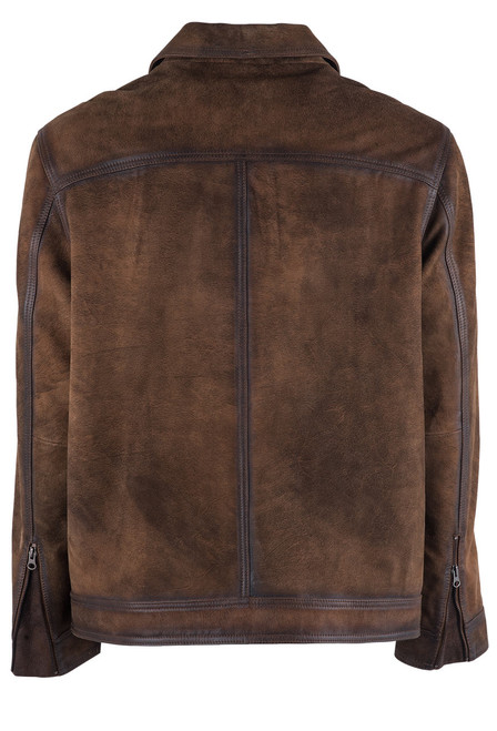 Madison Creek Distressed Brown Jungle Suede Steamboat Jacket - Back
