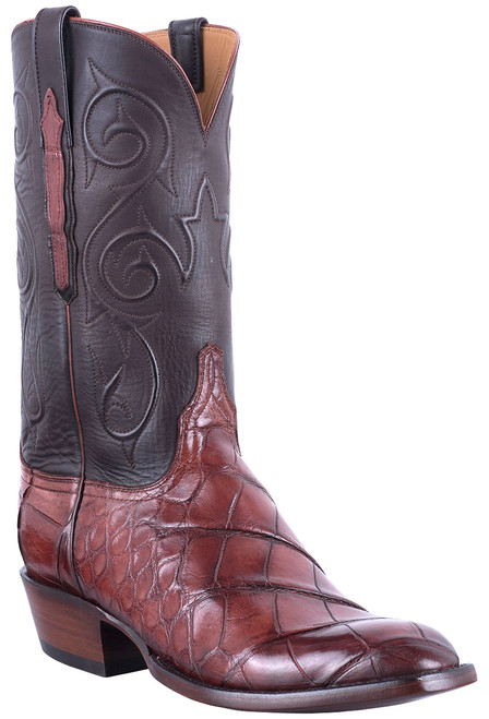 Lucchese Men's Antique Italian Red Giant Gator Boots