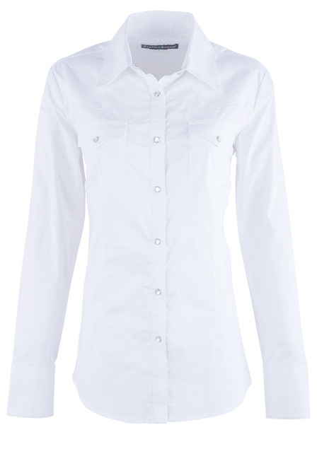 Pinto Ranch Women's White Western Snap Shirt - Front