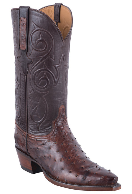 Lucchese Women's Antique Chocolate Full Quill Ostrich Boots