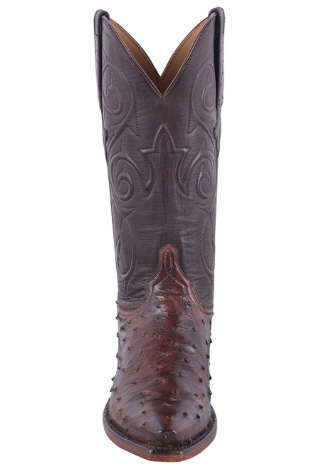 Lucchese Women's Antique Chocolate Full Quill Ostrich Boots -Front