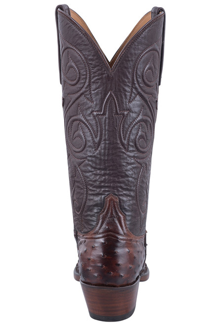 Lucchese Women's Antique Chocolate Full Quill Ostrich Boots - Back