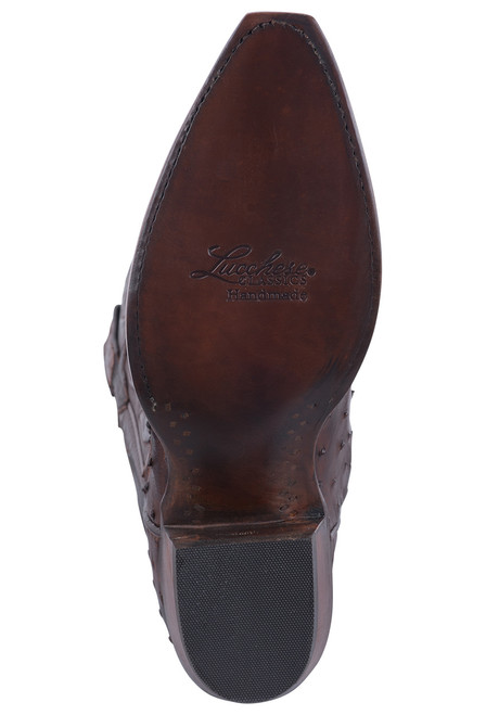Lucchese Women's Antique Chocolate Full Quill Ostrich Boots - Sole