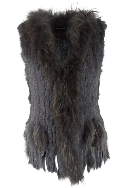 Dolce Cabo Rabbit and Raccoon Fur Vest - Gray - Front