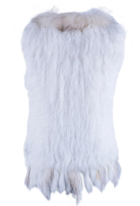 Dolce Cabo Rabbit and Raccoon Fur Vest- Ivory - Back