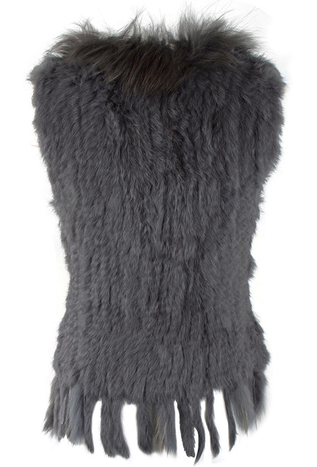 Dolce Cabo Rabbit and Raccoon Fur Vest - Gray - Back