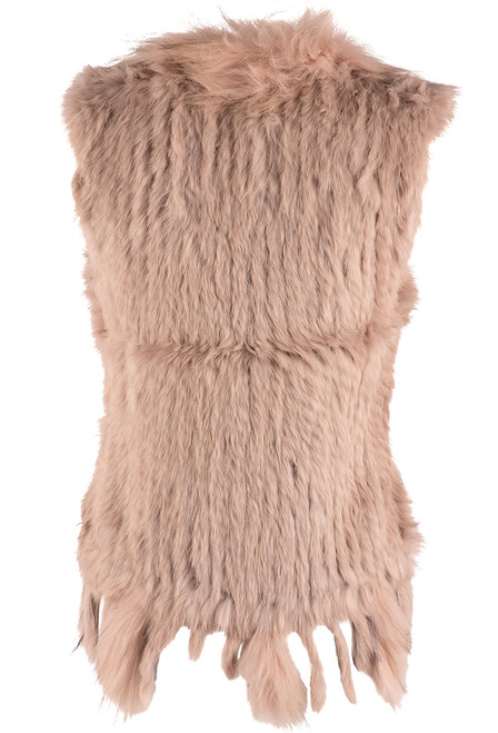 Dolce Cabo Rabbit and Raccoon Fur Vest - Blush - Front