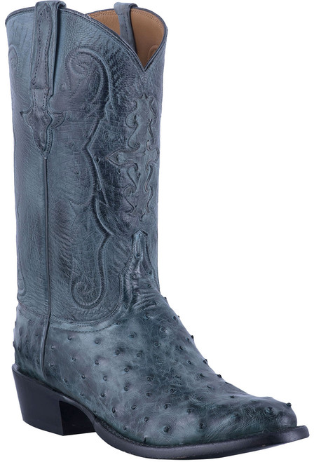 Lucchese Men's Anthracite Full Quill & Smooth Ostrich Boots - Hero