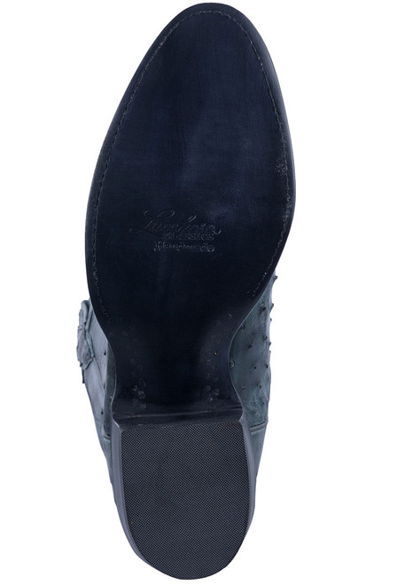 Lucchese Men's Anthracite Full Quill & Smooth Ostrich Boots - Sole
