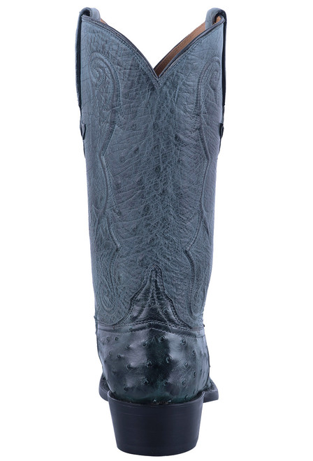 Lucchese Men's Anthracite Full Quill & Smooth Ostrich Boots - Back