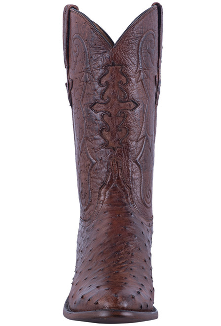 Lucchese Men's Antique Chocolate Full Quill & Smooth Ostrich Boots - Front
