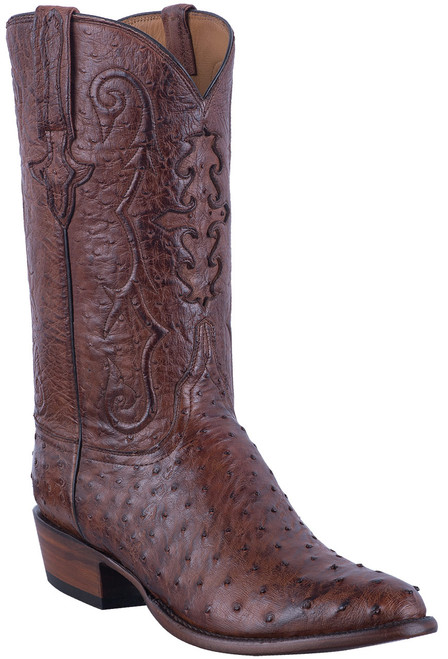 Lucchese Men's Antique Chocolate Full Quill & Smooth Ostrich Boots - Hero