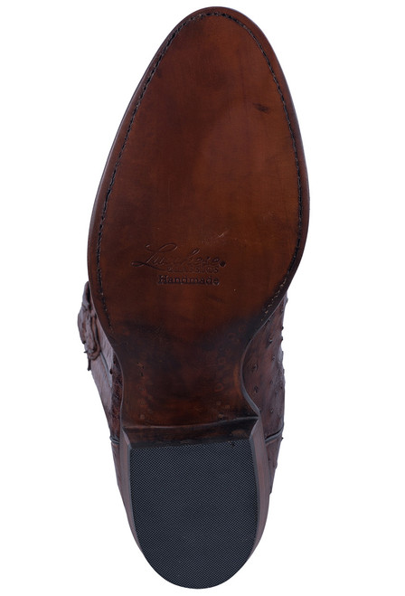 Lucchese Men's Antique Chocolate Full Quill & Smooth Ostrich Boots - Sole