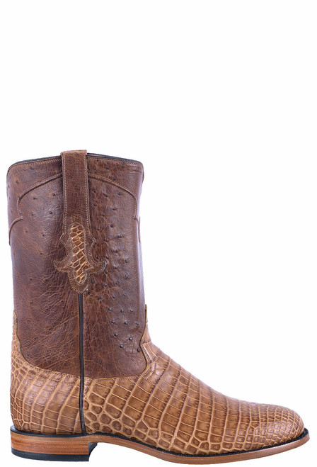 Tony Lama Signature Series Men's Saddle Vintage Nile Belly & Ostrich Roper Boots - Side