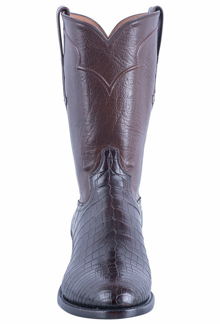 Tony Lama Signature Series Men's Chocolate Nile Belly Roper Boots - Front
