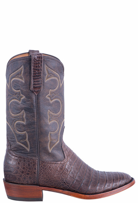 Rios of Mercedes Men's Brown Caiman Belly Boots - Side