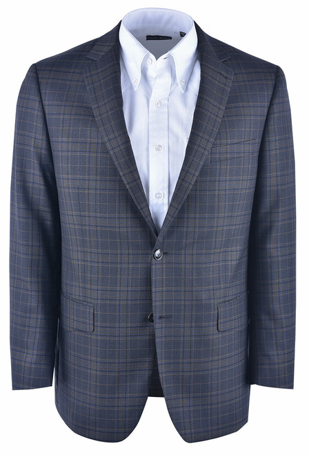 Pinto Ranch Dark Brown Plaid Western Sport Coat - Front