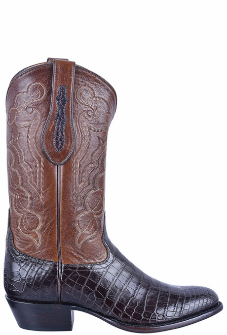 Tony Lama Signature Series Men's Chocolate Nile Belly Boots - Side