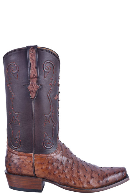 Lucchese Men's Antique Chocolate Full Quill Ostrich Boots