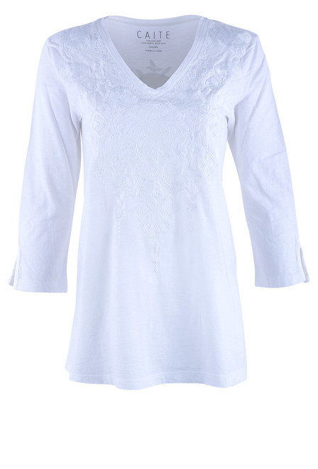 Caite Tiye Embroidered Top - Front