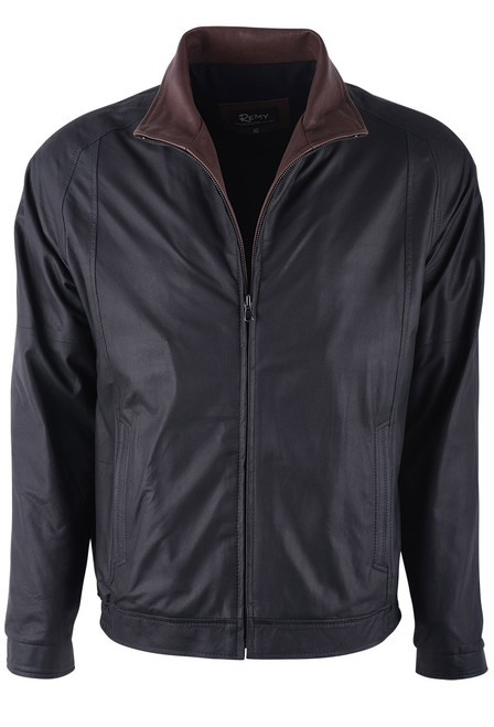 Remy Peat and Rustic Lambskin Leather Riding Jacket - Front