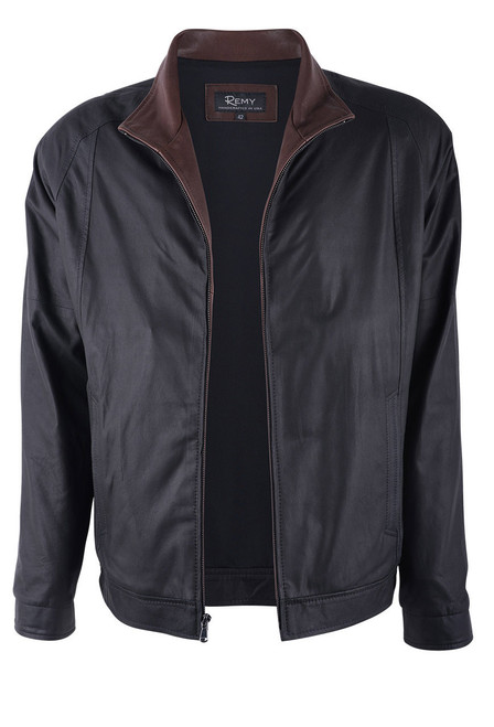 Remy Peat and Rustic Lambskin Leather Riding Jacket - Open
