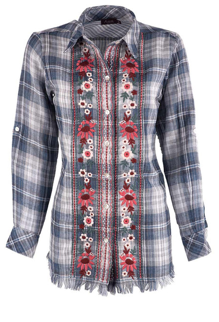 Avani Embroidered Plaid Button-Down Top - Front