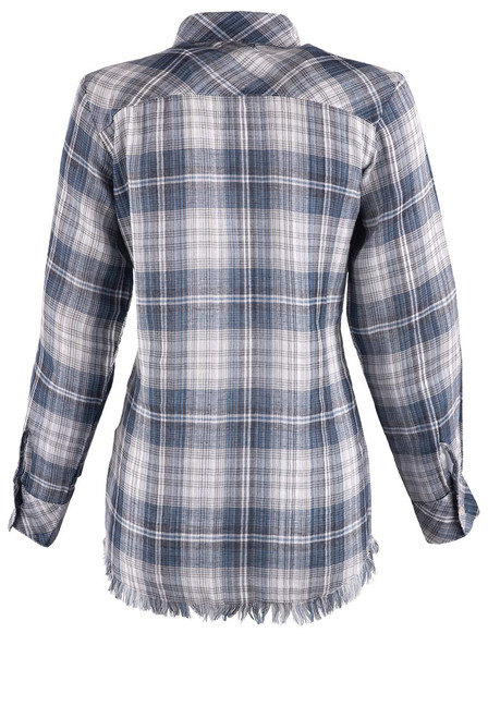 Avani Embroidered Plaid Button-Down Top - Back