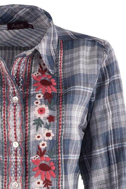 Avani Embroidered Plaid Button-Down Top