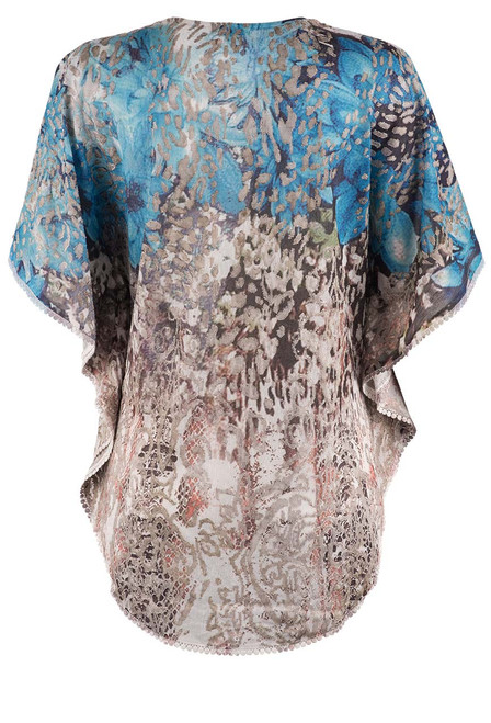 Adore Burnout Poncho Top - Back