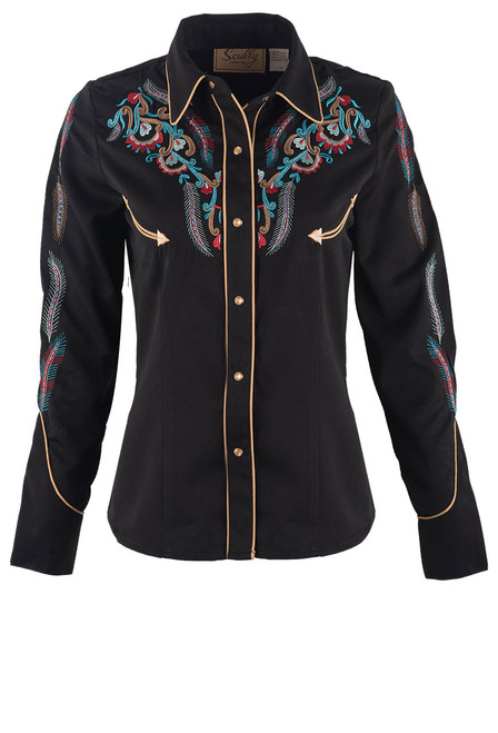 Scully Women's Feather & Floral Embroidered Western Shirt - Black Front