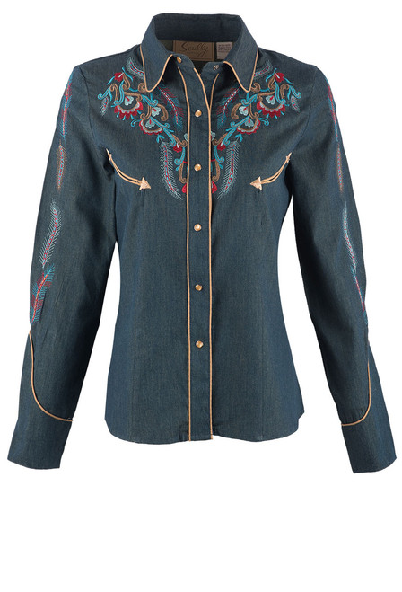 Scully Women's Feather & Floral Embroidered Western Shirt - Denim Front