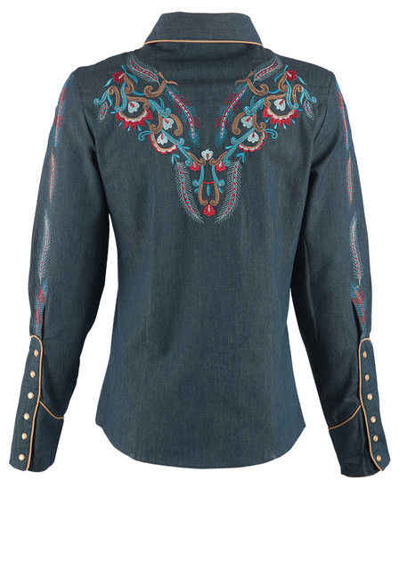Scully Women's Feather & Floral Embroidered Western Shirt - Denim Back