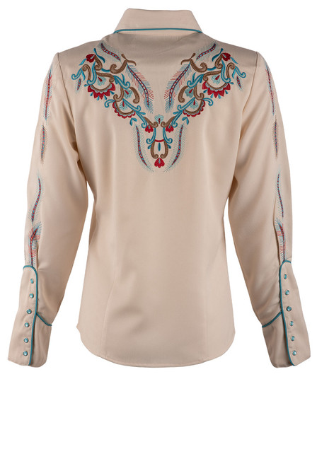 Scully Women's Feather & Floral Embroidered Western Shirt - Back