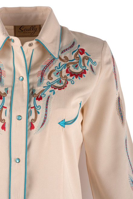 Scully Women's Feather & Floral Embroidered Western Shirt - Close