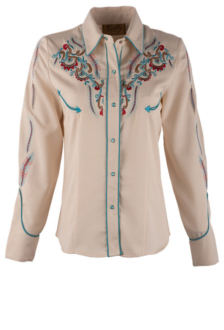 Scully Women's Feather & Floral Embroidered Western Shirt - Front