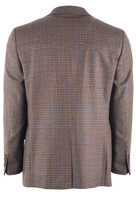Pinto Ranch Brown & Blue Check Western Sport Coat - Back