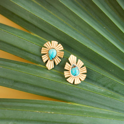 Christina Greene Gold and Bold Turquoise Stud Earrings -