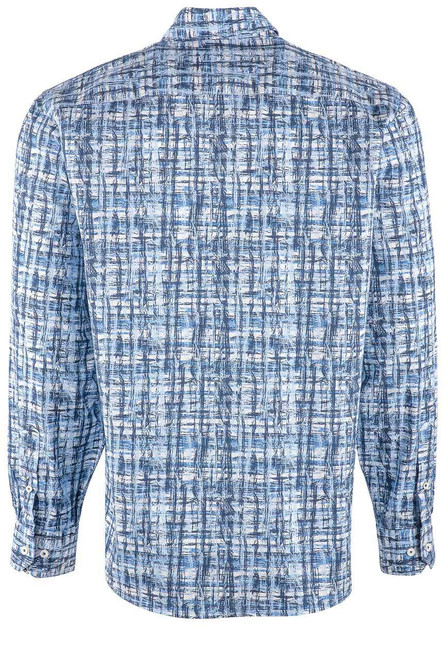 Bugatchi Men's Classic Blue Abstract Shirt - BACK