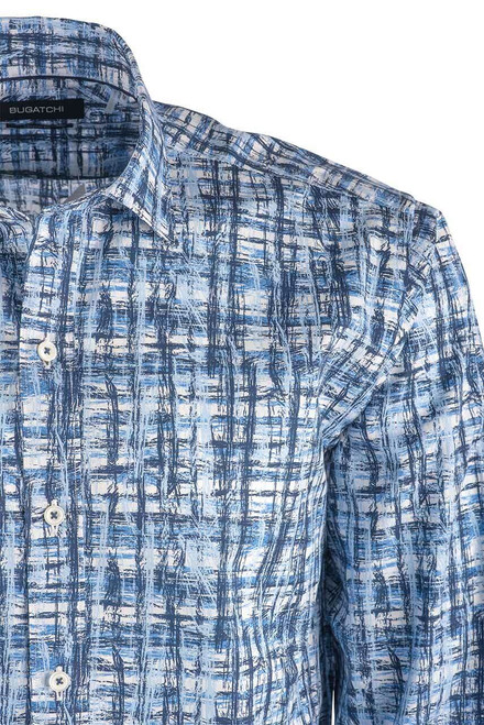 Bugatchi Men's Classic Blue Abstract Shirt - Close