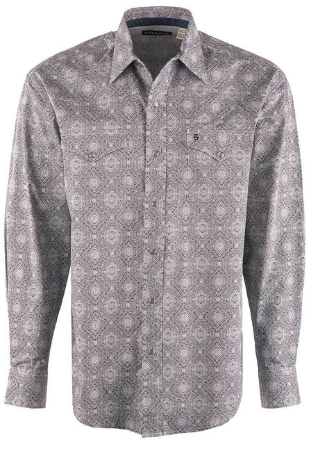 Stetson Grey Classic Medallion Snap Shirt - Front
