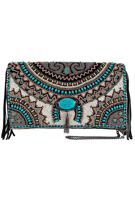 Mary Frances Earth & Sky Beaded Leather Crossbody Handbag