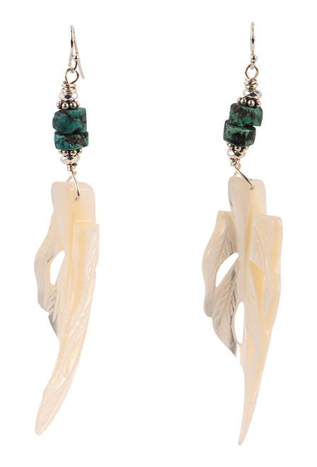 Breathe Deep Designs Mother of Pearl Carved Feather Earrings