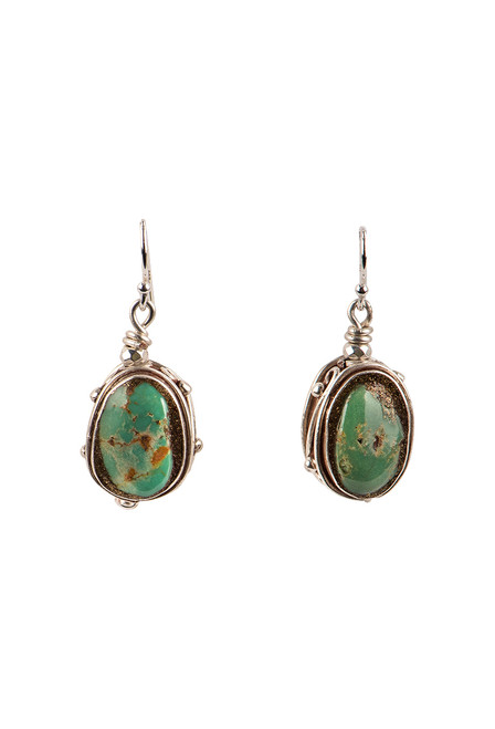 Breathe Deep Designs Green Turquoise Nugget Earrings - Front