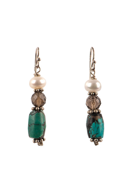 Breathe Deep Designs Mother of Pearl, Quartz and Turquoise Dangle Earrings