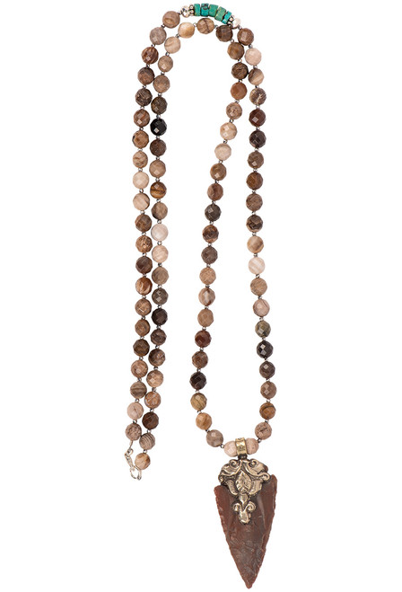 Breathe Deep Designs Jasper Arrowhead Necklace - Front