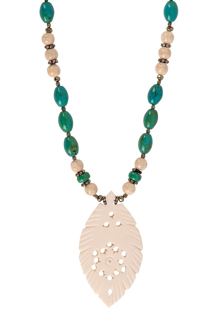 Breathe Deep Designs Turquoise & River Stone Bone Feather Necklace