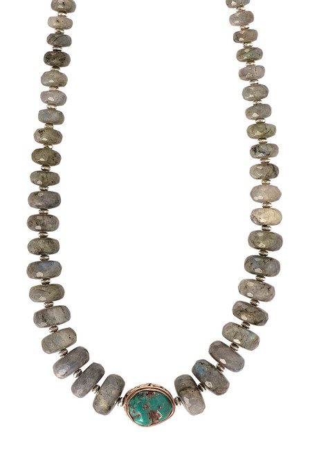 Breathe Deep Large Labradorite and Turquoise Necklace