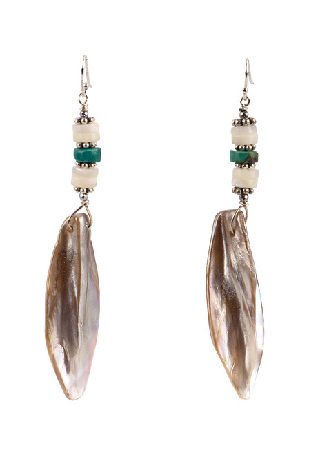 Breathe Deep Designs Mother of Pearl Pink & Turquoise Earrings