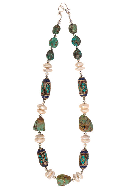 Breathe Deep Designs Lapis Turquoise Pearl Wanderer Necklace
